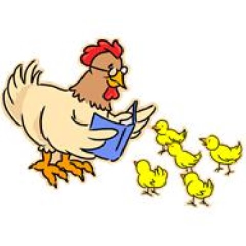 Mutterhuhn liest Küken Buch vor